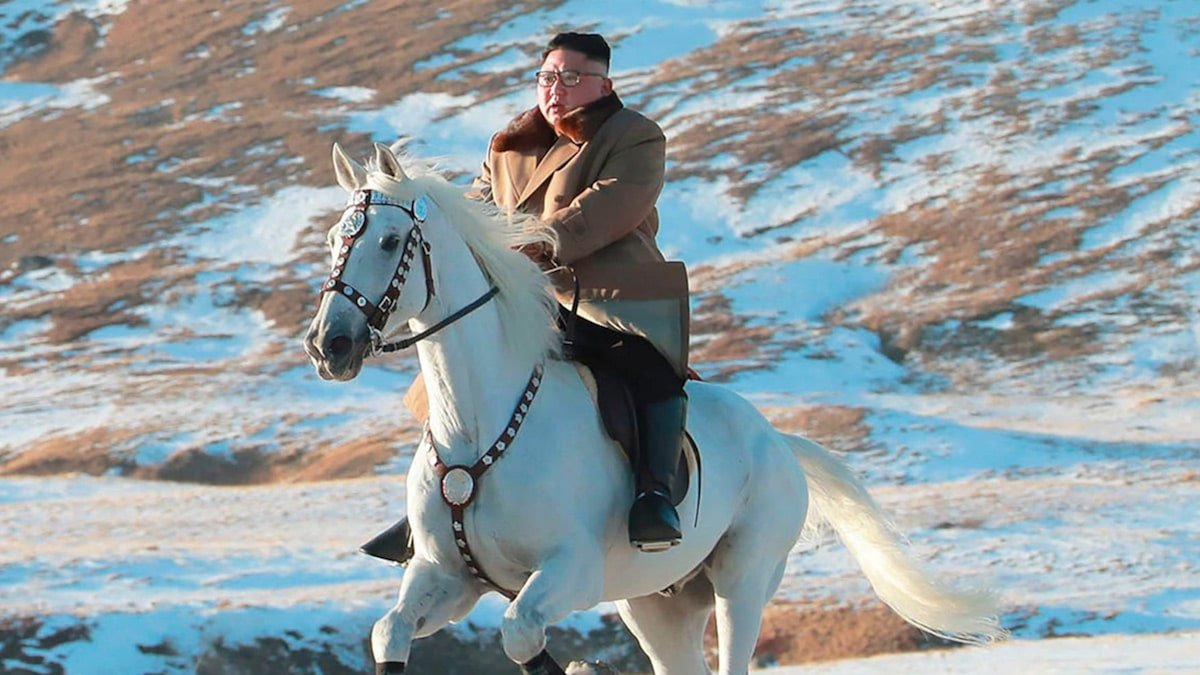 Kim Jong-un Rides White Horse to Sacred Mountain in North Korea